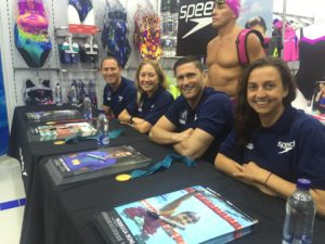 Rebecca Soni, Lenny Krayzelburg, Misty Hyman and Jason Lezak at an autograph event in Bogota